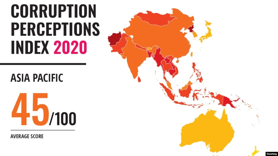 Indeks Persepsi Korupsi Tahun 2020 hasil survei Transparency International. (Grafis: Transparency International)
