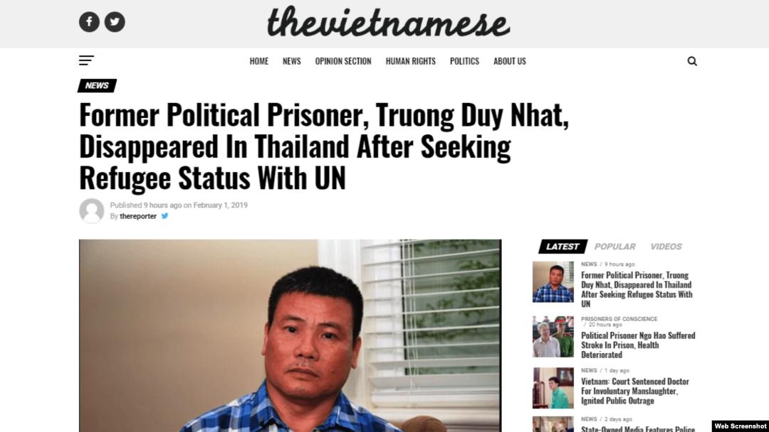 Trang The Vietnamese loan tin ông Trương Duy Nhất bị mất tích ở Thái Lan. Photo The Vietnamese.